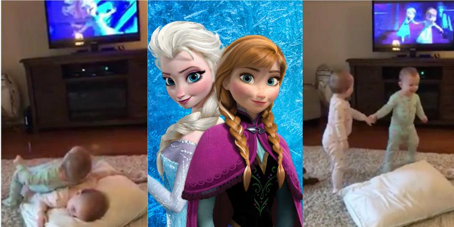 """Ownnn! Gêmeas de dois aninhos imitam cena de """"Frozen"""" e o resultado é de explodir o fofurômetro!"""