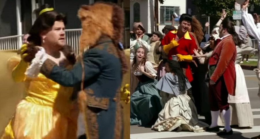 """Na rua, James Corden apresenta números de """"A Bela e a Fera"""" com elenco do live-action"""