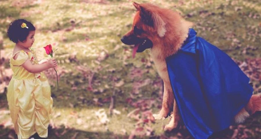"""Fotógrafa faz ensaio LINDO de garotinha com cachorro, inspirado em """"A Bela e a Fera"""""""