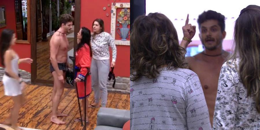 """OMG! Marcos caça confusão com sisters e Vivian intervém: """"Na minha frente ele não grita com vocês!"""""""