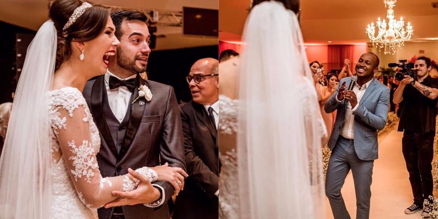 Lindo! Thiaguinho aparece de surpresa em casamento de fãs e eles se emocionam muito!