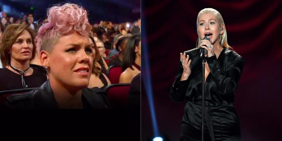 """P!nk comenta sobre sua expressão diante da performance de Christina Aguilera no """"AMA 2017"""""""