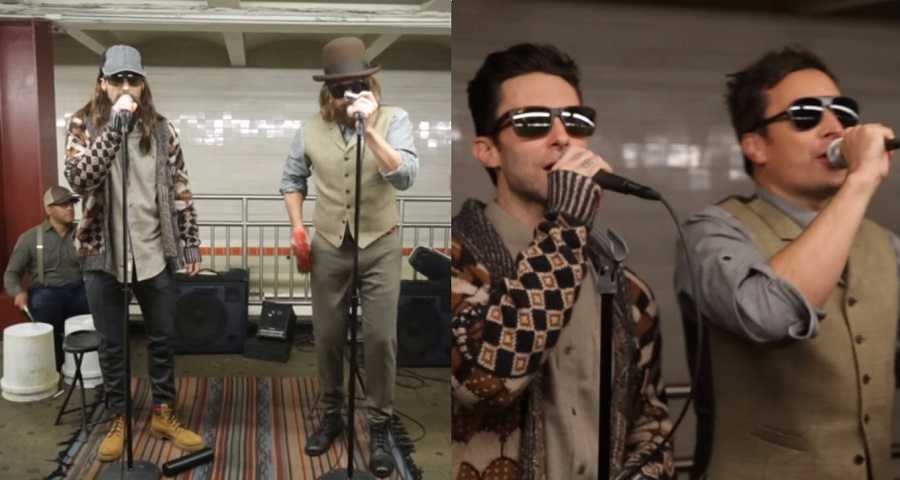 Disfarçados, Adam Levine e Jimmy Fallon cantam em estação de metrô e surpreendem passageiros