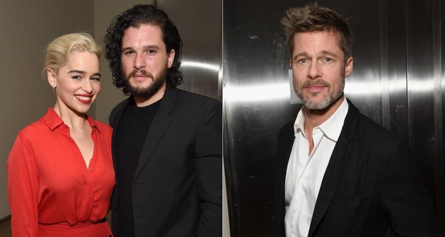 """Brad Pitt oferece US$ 120 mil para ter sessão de """"GoT"""" com Emilia Clarke e Kit Harington"""