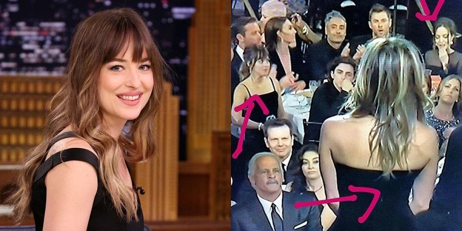 Dakota Johnson comenta foto do Globo de Ouro em que olha para Angelina Jolie durante fala de Jennifer Aniston
