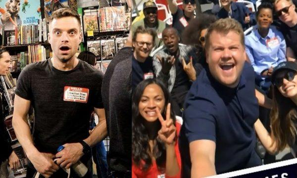 """Elenco de """"Vingadores"""" surpreende fãs em loja de quadrinhos durante passeio com James Corden"""