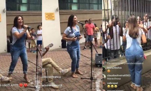 Ivete Sangalo celebra aniversário e faz show para fãs na área externa de seu prédio, em Salvador