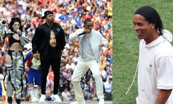 """Copa 2018: Festa de encerramento tem Ronaldinho Gaúcho e primeira performance de """"Live It Up"""""""