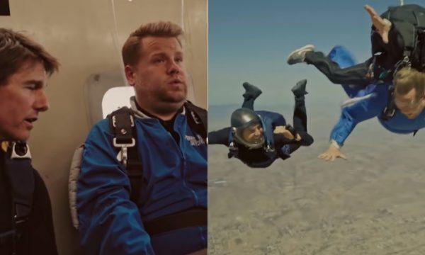 """Tom Cruise e James Corden pulam de avião e recriam cena de """"Missão Impossível 6""""; assista"""