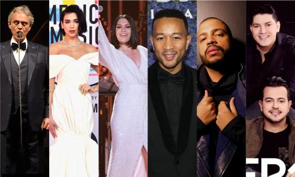 """Música linda de Andrea Bocelli com Dua Lipa; álbuns novos de """"Black Eyed Peas""""; Jessie J e John Legend; e inéditas de Projota e Henrique e Diego são destaques dos """"Lançamentos de Sexta"""""""
