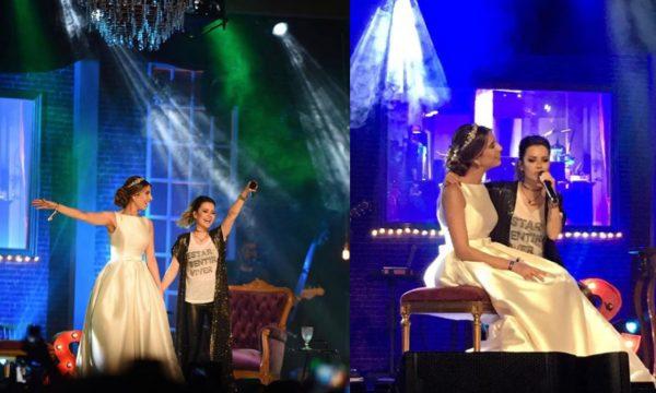 Incrível! Noiva larga o próprio casamento para ir ao show de Sandy e sobe no palco pra cantar com a estrela — de vestidão e tudo! Veja vídeo
