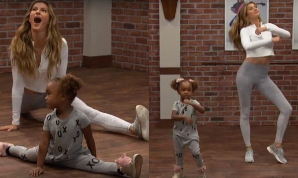 GiseleBündchen ARRASA na coreo de hit de Rihanna em aula de dança dada por crianças!