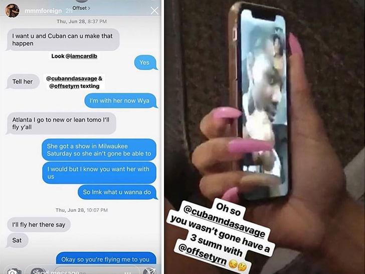 São vazadas mensagens de Offset pedindo amante para fazer sexo a três com outra rapper